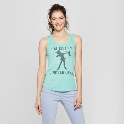 6137d6235d2be Womens Disney Im So Fly I Never Land Graphic Tank Top (Juniors) Green S
