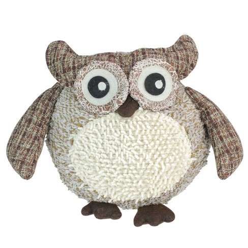 """Northlight 12"""" Charming Brown Plaid Owl w/ Textured Ivory Plush Table Top Christmas Figure - image 1 of 3"""