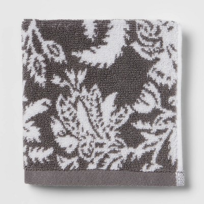 Performance Washcloth Dark Gray Floral - Threshold™