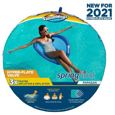 SwimWays Spring Float Papasan Pool Lounger with Hyper-Flate Valve - Blue