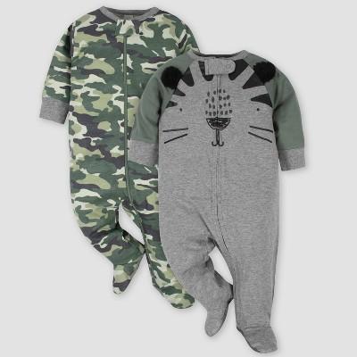 Gerber Baby Boys' 2pk Tiger Sleep N' Play - Gray 6-9M