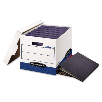 Bankers Box BINDERBOX Storage Box Locking Lid 12 1/4 x 18 1/2 x 12 White/Blue 12/Carton 0073301