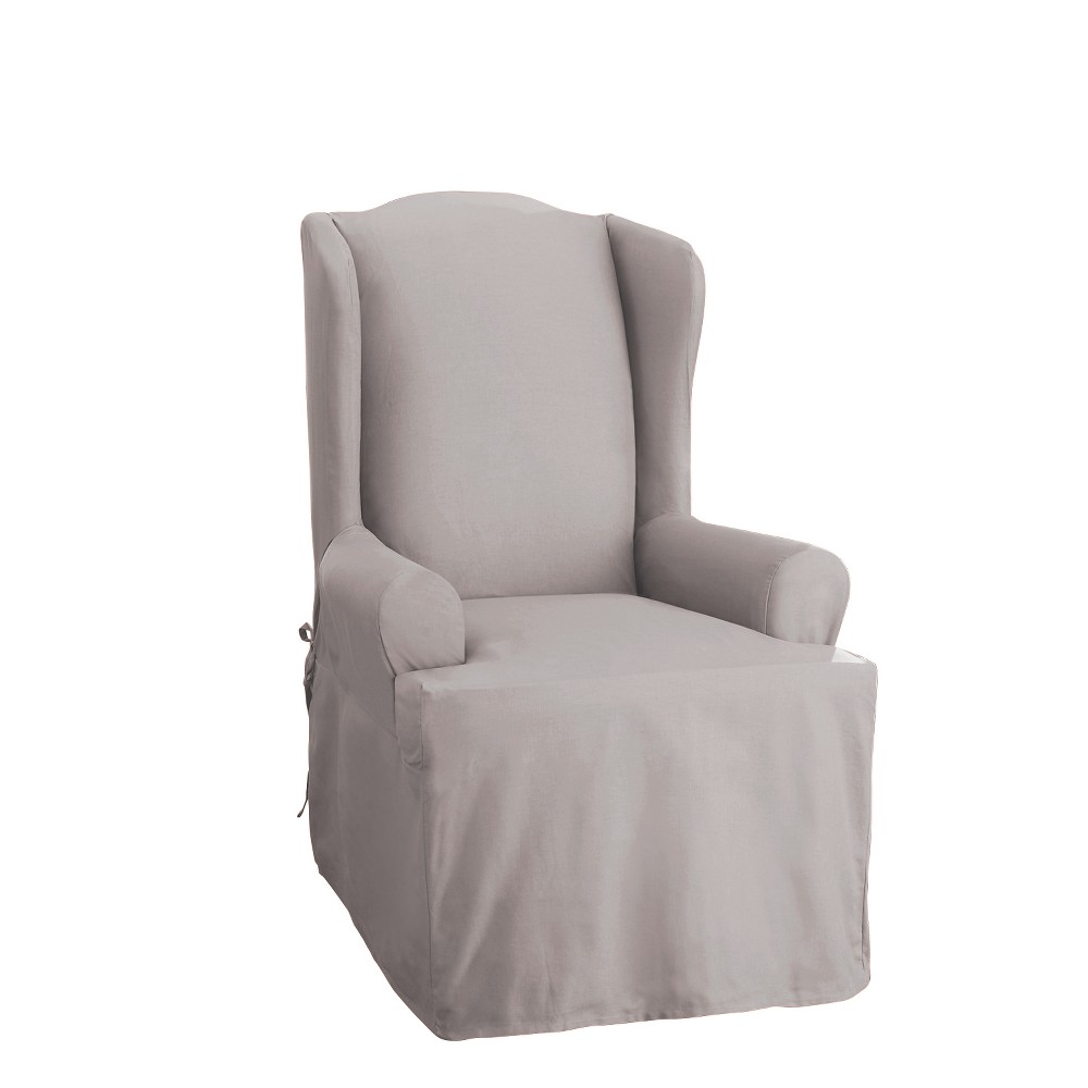 Cotton Duck Wing Chair Slipcover Light Gray - Sure Fit