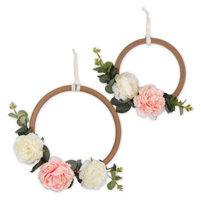 The Peanutshell Farmhouse Floral Ring Wall Decor 2pc