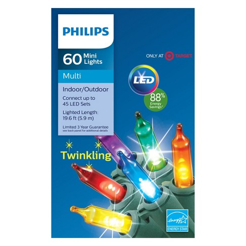 Philips 60ct Christmas LED Smooth Mini String Lights Multi Twinkle ...