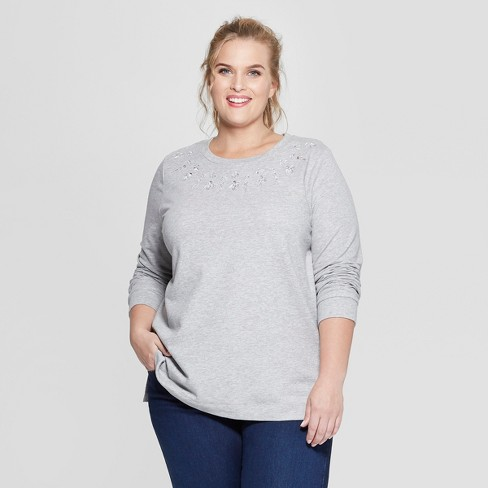 a9603014e8b Women s Plus Size Embellished Long Sleeve Pullover - Ava   Viv™   Target