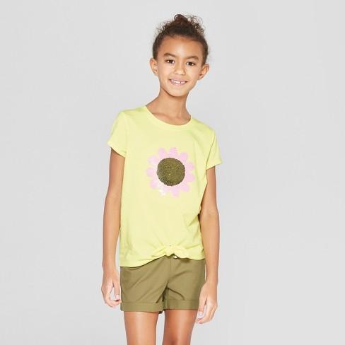 7982d0eb0d18 Girls' Short Sleeve Tie Front Flower Flip Sequins T-Shirt - Cat & Jack™  Yellow S : Target