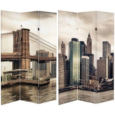 """6"""" Double Sided New York River Canvas Room Divider Gray - Oriental Furniture"""
