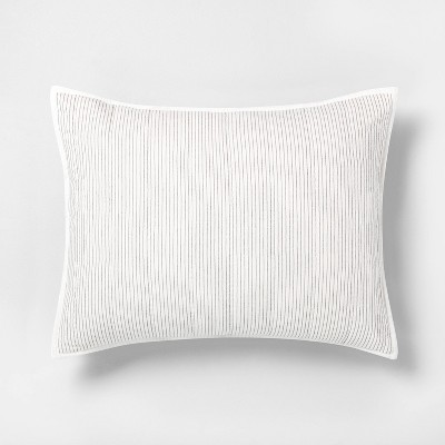 Standard Microstripe Pillow Sham Sour Cream / Railroad Gray - Hearth & Hand™ with Magnolia