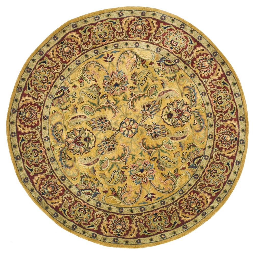 Gold/Red Holly Tufted Round Area Rug 6' - Safavieh