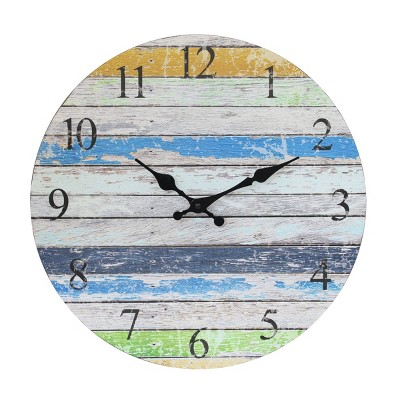 """14"""" Round Wooden Wall Clock Blue/White - Stonebriar Collection"""