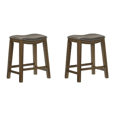 """Homelegance 24"""" Counter Height Wooden Saddle Seat Barstool, Gray Brown (2 Pack)"""