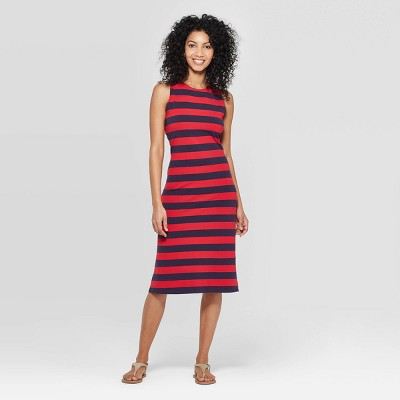 view Women's Striped Sleeveless Crewneck Knit Midi Dress - A New Day on target.com. Opens in a new tab.