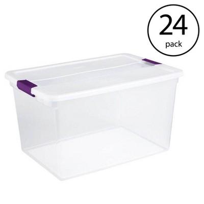 Sterilite 66 Quart Clear Plastic Latching Handle Storage Container Tote