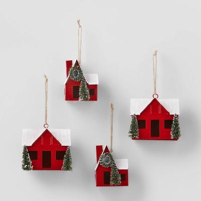 4pk Metal Cabin Christmas Tree Ornament Red - Wondershop™