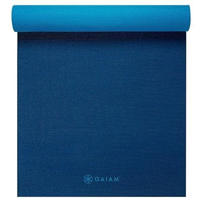 Gaiam Premium 2-Color Yoga Mat - Navy/Blue (6mm)