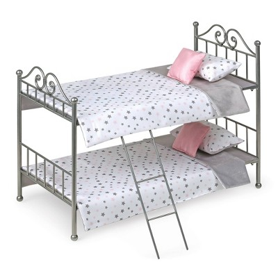Scrollwork Metal Doll Bunk Bed with Ladder and Bedding - Silver/Pink/Stars