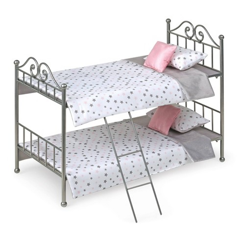 Scrollwork Metal Doll Bunk Bed with Ladder and Bedding - Silver/Pink/Stars - image 1 of 3