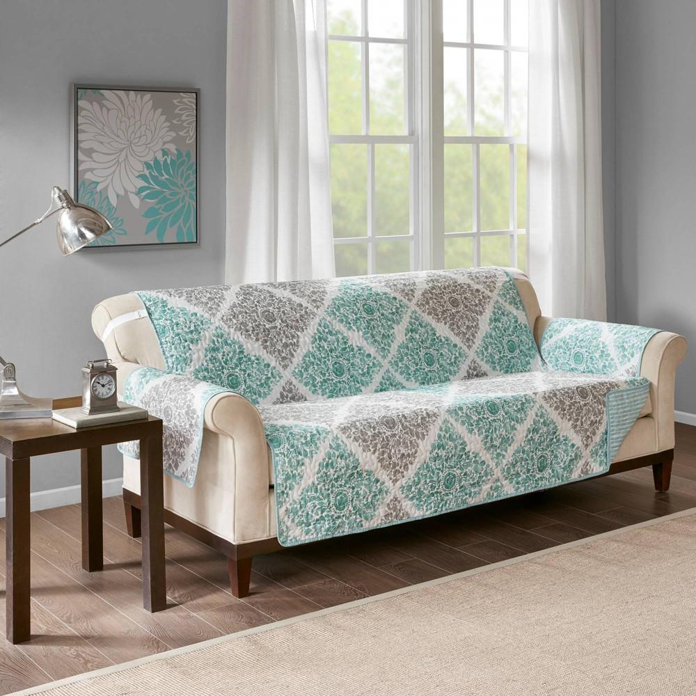 Image of Arbor Printed Sofa Protector Aqua