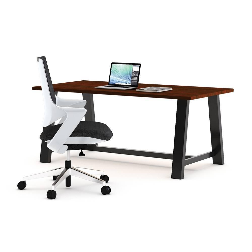 Mia Office Desk with Chair Mahogany/White (Brown/White) - Olio Designs