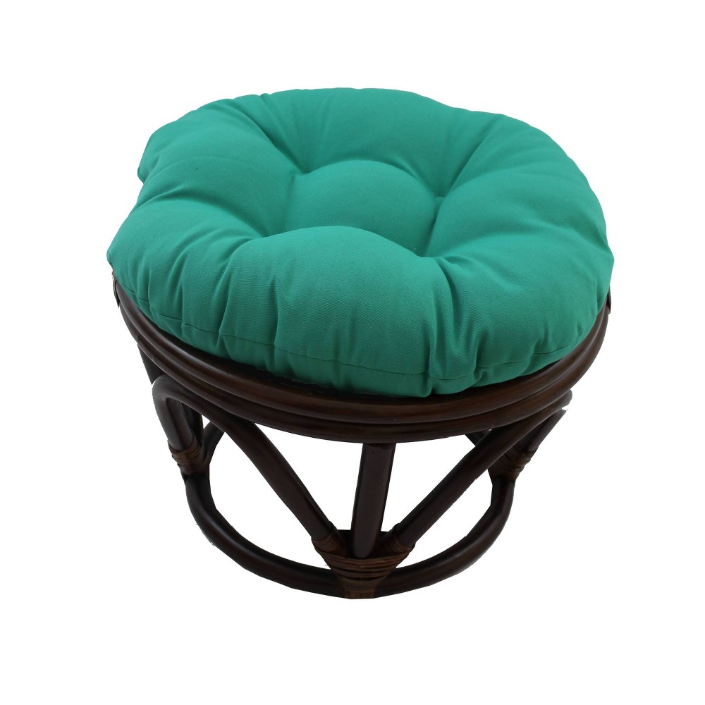 Rattan Footstool With Twill Cushion Emerald International Caravan