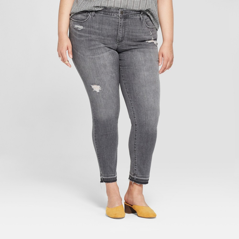 Women's Plus Size Released Hem Skinny Jeans - Universal Thread Black Wash 18WL, Size: 18W Long