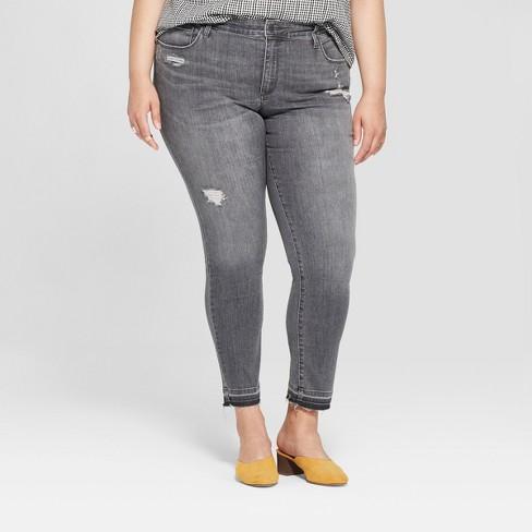 a50977cbae3 Women s Plus Size Released Hem Skinny Jeans - Universal Thread™ Black Wash