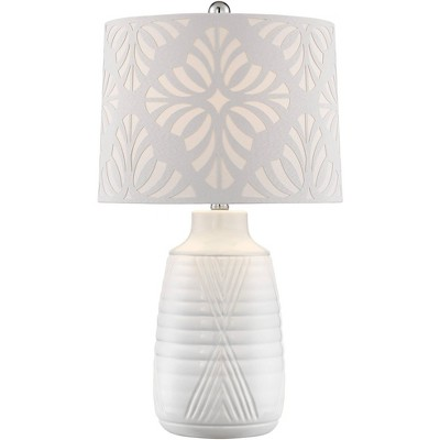 360 Lighting Modern Table Lamp White Ceramic Cutout Patterned Drum Shade for Living Room Bedroom Bedside Nightstand Office Family