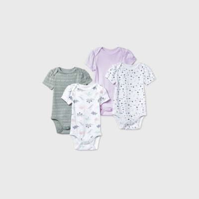 Baby Girls' 4pk Dino Dreams Short Sleeve Bodysuit - Cloud Island™ Pink 3-6M