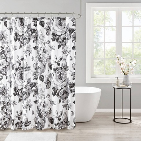 Hannah Floral Printed Shower Curtain Black/White - image 1 of 4