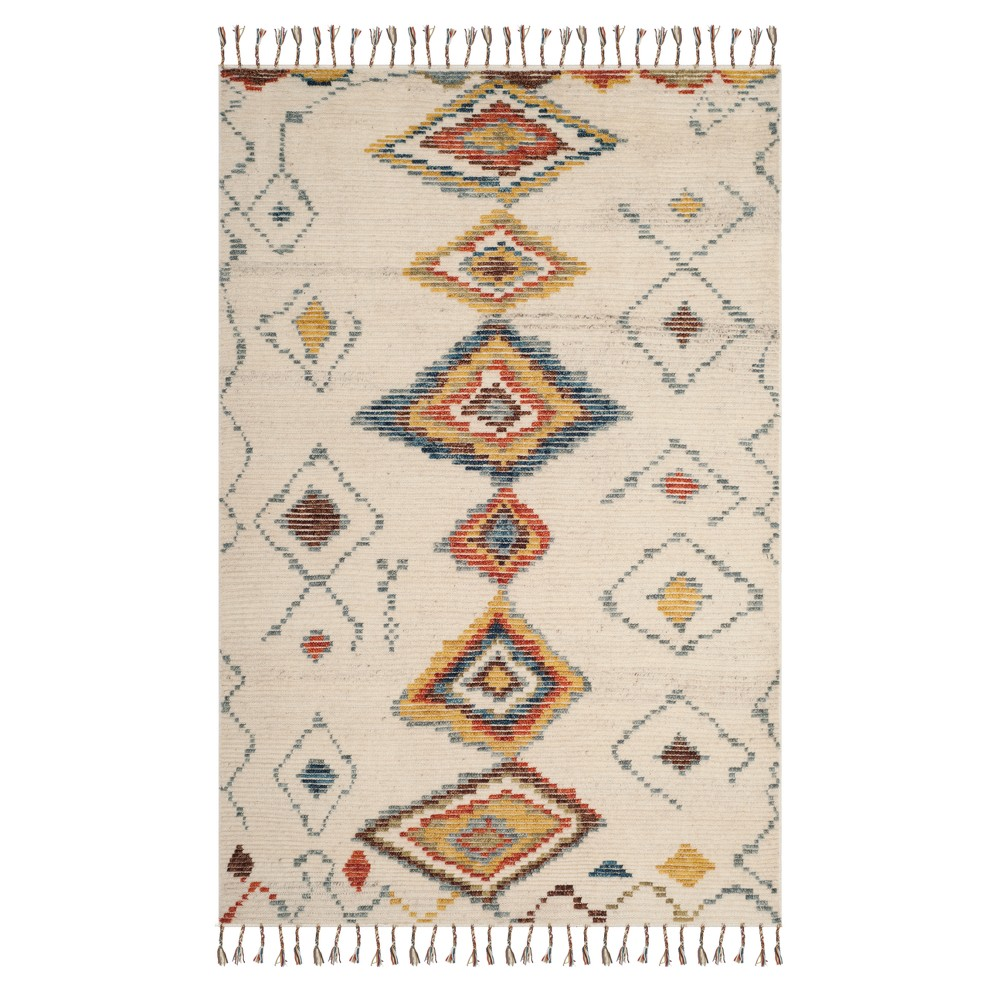 Ivory Tribal Design Knotted Area Rug 5'X8' - Safavieh, Ivorynmulti-Colored
