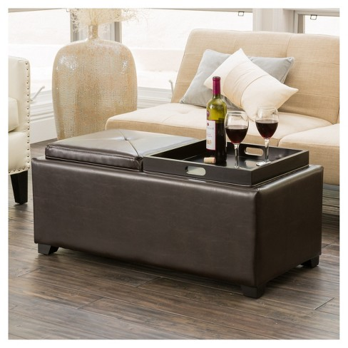 Tray Ottoman Coffee Table.Maxwell Bonded Leather Double Tray Ottoman Christopher Knight Home