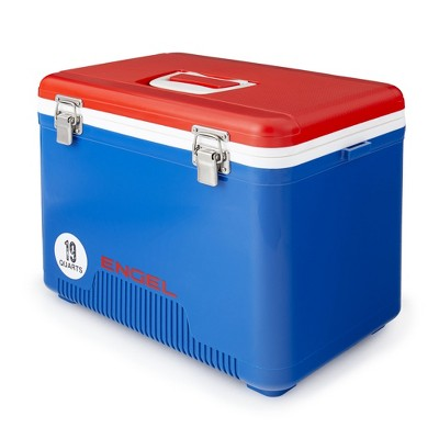 Engel UC19-RWB 19 Quart Fishing Live Bait Dry Box Ice Cooler with Stain/Odor-Resistant Surface and Shoulder Strap, Red/Blue