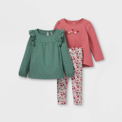 Toddler Girls' 3pc Floral Long Sleeve Top & Leggings Set - Just One You® made by carter's Green/Maroon