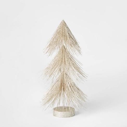 12in Unlit Tinsel Christmas Tree Decorative Figurine Champagne - Wondershop™ - image 1 of 1