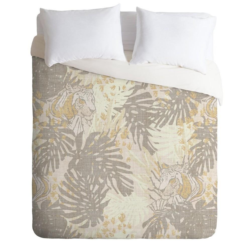 Full/Queen Holli Zollinger Jungle Leaf Tiger Comforter Set Brown - Deny Designs
