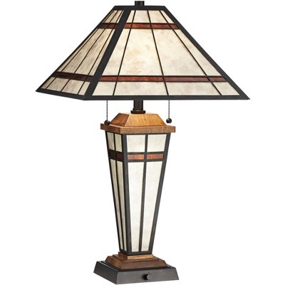 Franklin Iron Works Mission Rustic Table Lamp with Nightlight LED Bronze Tiffany Style Light Mica Living Room Bedroom Bedside