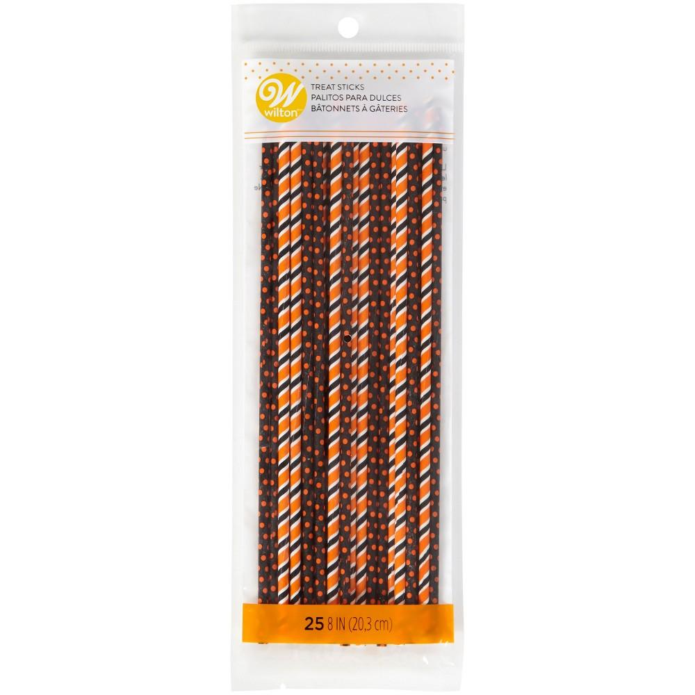 Image of 25pk Halloween Treat Sticks Black/Orange - Wilton