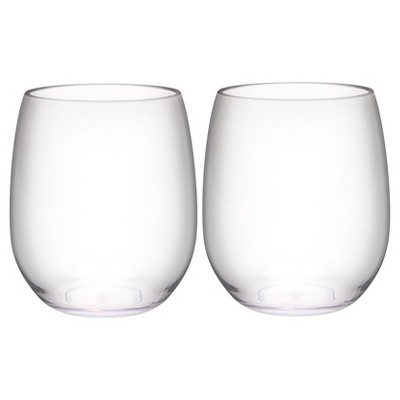 Trinity 15oz Set of 2 Stemless Wine Tumbler Clear - Zak Designs