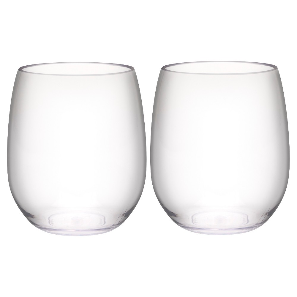 Image of Trinity 15oz Set of 2 Stemless Wine Tumbler Clear - Zak Designs