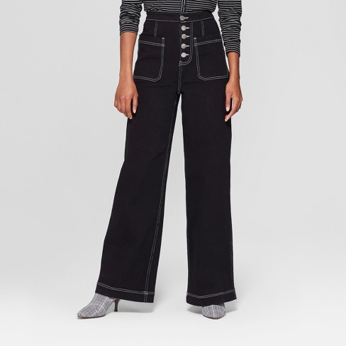 Women's Contrast Stitch Mid-Rise Straight Leg Jeans - Who What Wear™ Black 14 - image 1 of 3