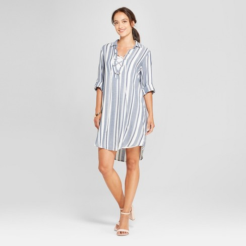 Women's Striped Lace-Up Shirt Dress - Lux II - Navy/Ivory - image 1 of 2