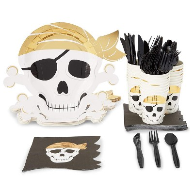 Serves 24 Pirate Theme Party Supplies, 144pcs Skull Disposable Paper Dinner Plates, Napkins, Cups and Cutlery Set for Baby Shower, Kids Birthday