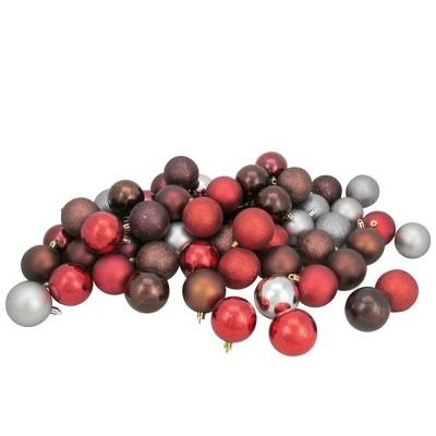 "Northlight 60ct Shatterproof 4-Finish Christmas Ball Ornament Set 2.5"" - Red/Gray"