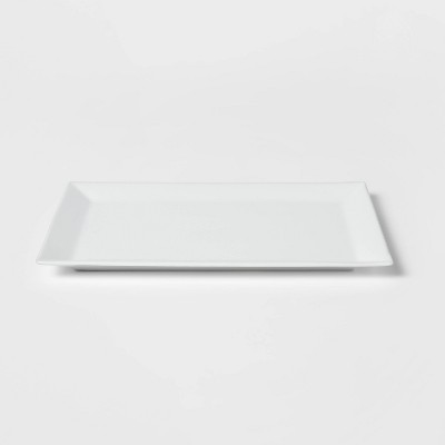 "16"" x 10"" Porcelain Rectangular Rimmed Serving Platter White - Threshold™"