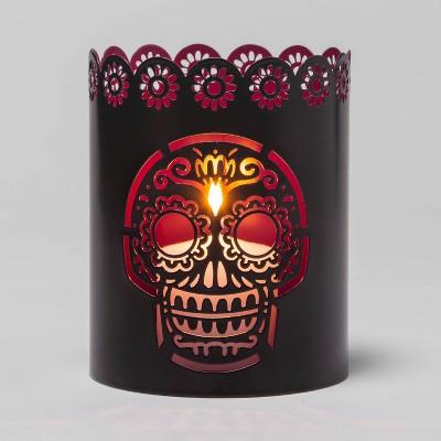 Purple Metal Día de Muertos Votive Round Candle Holder