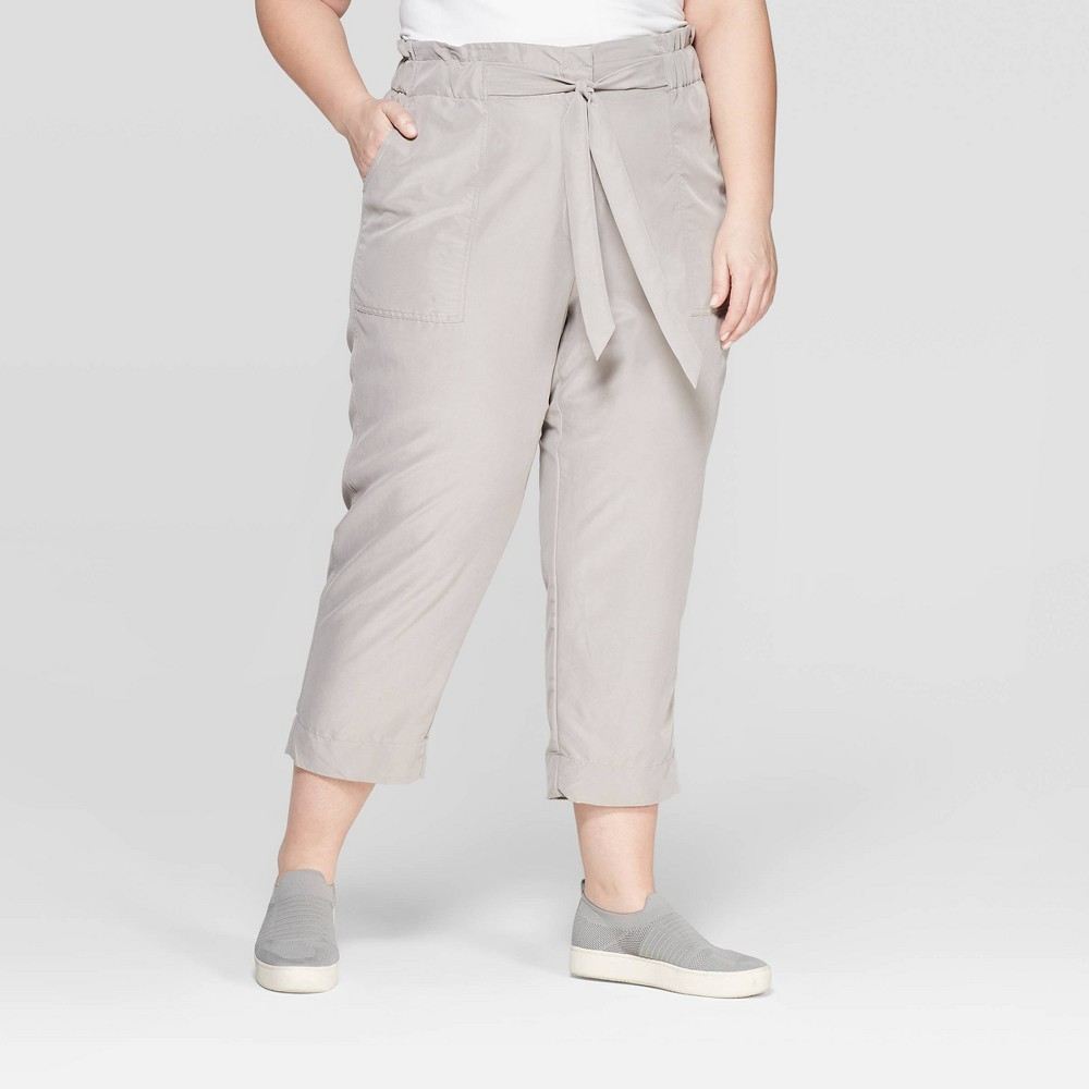 Women's Plus Size Mid-Rise Ankle Length Paperbag Waist Fashion Pants - Prologue Gray 1X, Afternoon Tea