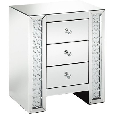 "Studio 55D Fostoria 22 1/4"" Wide Mirrored 3-Drawer Accent Table"