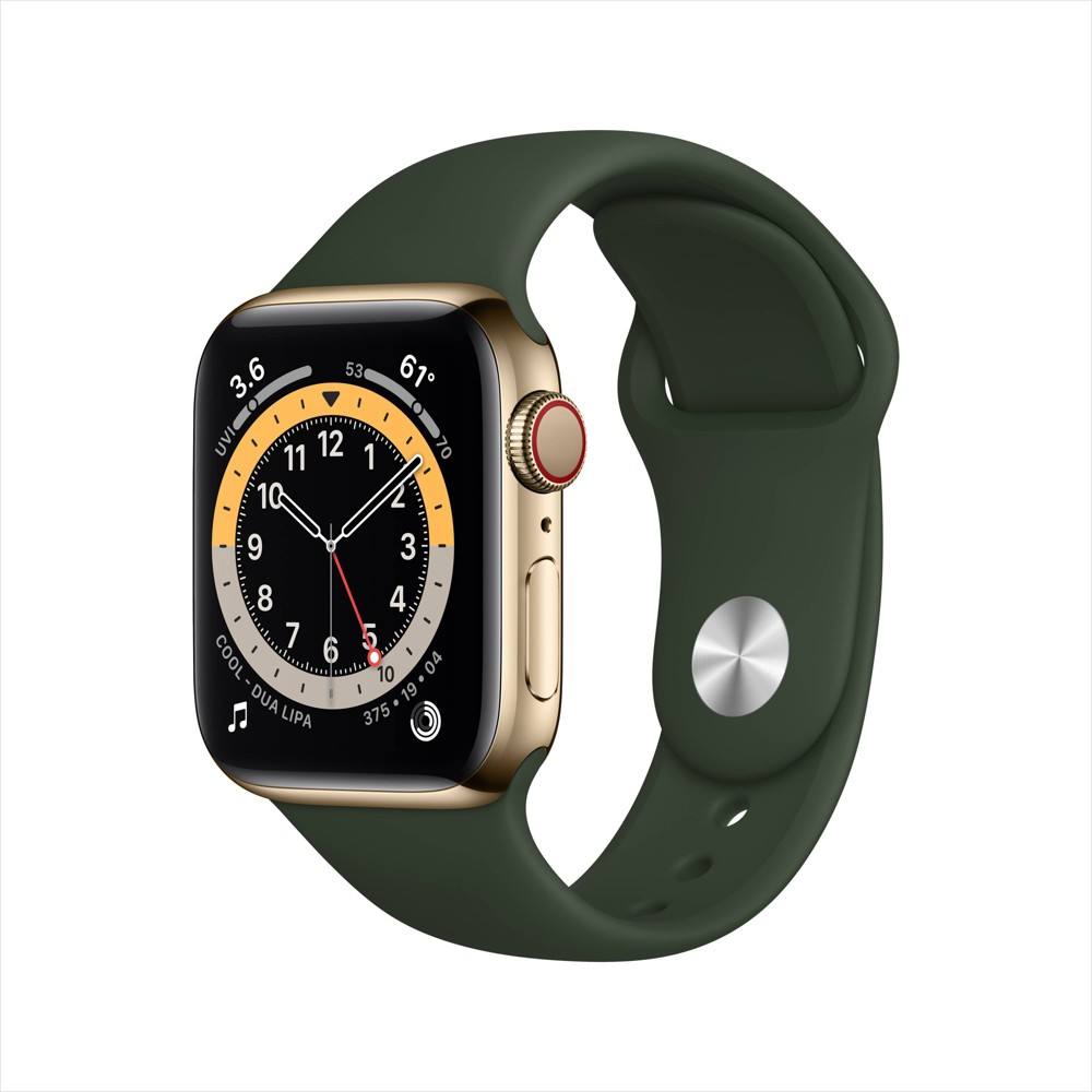 Apple Watch Series 6 Gps Cellular 44mm Gold Stainless Steel Case With Cyprus Green Sport Band