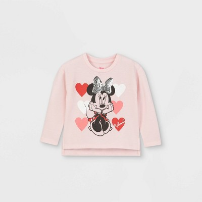 Toddler Girls' Minnie Mouse Hearts Valentine's Day Fleece Pullover - Pink